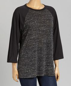 Another great find on #zulily! Charcoal & Black Raglan Tee - Plus #zulilyfinds