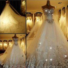 Glow in the dark wedding gown - sexy mermaid sweetheart rhinestone ...