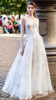 gemy maalouf 2017 bridal sleeveless v neck heavily embellished bodice romantic a  line wedding dress open scoop back sweep train (4799) mv #wedding #bridal #weddingdress
