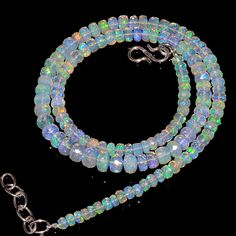 """58CRTS 4to6MM 18"""" ETHIOPIAN OPAL FACETED RONDELLE BEADS NECKLACE OBI2098 #OPALBEADSINDIA"""