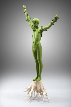 green - tree man - figurative wood sculpture - Human Nature - Willy Verginer