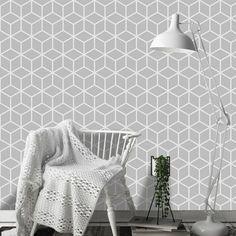 Το σοφιστικέ γκρι χρώμα στη διακόσμηση με ταπετσαρία τοίχου με κύβους! #γεωμετρικέςταπετσαρίες #geometricwallpaper #ταπετσαρίεςτοίχου #γκριταπετσαρία #greydecoration