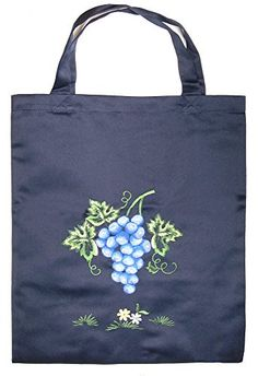 Banberry Designs Embroidered Grapes Polyester Shopping Shoulder Tote Bag 15x17 Inch