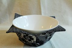 Microwavable fabric bowl cover by TheScatteredArtisan on Etsy