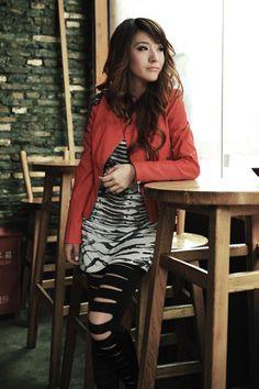 Fashion O Neck Long Sleeves Zipper Design Orange PU Short Jacket