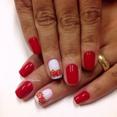 By madáh santana nail art unhas claras, unhas decorads, unhas escuras, unhas vermelhas Christmas Nail Designs, Christmas Nails, Pretty Nails, Fun Nails, Rose Nails, Flower Nail Art, Accent Nails, Nail Arts, Spring Nails