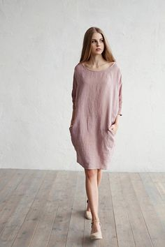 Loose fitted linen dress. 15 colours. Linen clothing for 15 Abiti 67a3490d832