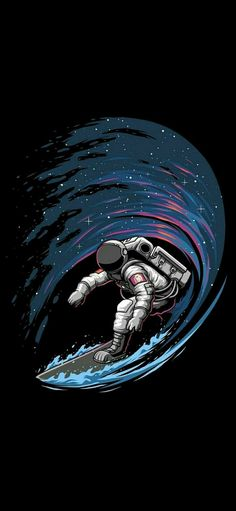 Astronaut Surfing in Space iPhone Wallpaper Full HD 1080×2340