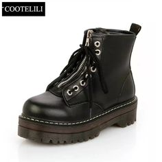 Cheap pu leather boots, Buy Quality martin boots directly from China boots girl Suppliers: COOTELILI Fashion Zipper Flat Shoes Woman High Heel Platform PU Leather Boots Lace up Cow Muscle Shoes Martin Boots Girls 35-40