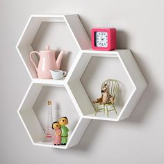 Display books, toys and more in the bedroom or playroom with kids shelves from Crate and Barrel. Wall cubbies also brighten and organize your child's space. Honeycomb Shelves, Hexagon Shelves, Shelves Under Tv, Storage Shelves, Hanging Shelves, Paint Storage, Kids Storage, Diy Hanging, Storage Room