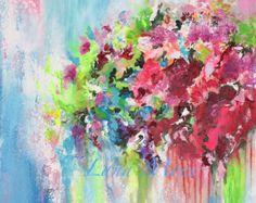 Large Original Abstract Painting Tulips Pink by lanasfineart