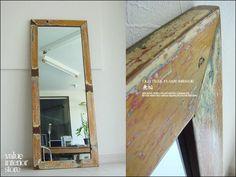 1円オールドチークフレームミラー姿見 北欧 全身用 大型 鏡 無垢 Scandinavian teak furniture ¥6500yen 〆04月17日