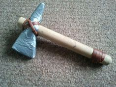 DIY Tomahawk Blade - gaffa tape with rollmat core Handle - broom handle Leather handle and blade wrap