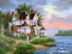 belles images - Page 8 Kinkade Paintings, Seascape Paintings, Fantasy Landscape, Landscape Art, Beautiful Paintings, Beautiful Landscapes, Watercolor Illustration, Watercolor Art, Belle Image Nature