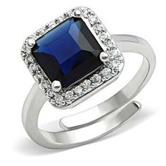 Silver Tone Blue Sapphire Princess Cut CZ Engagement Ring | Hope Chest Jewelry, $25.49