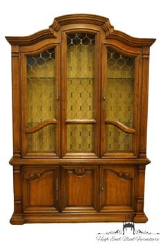 Drexel Heritage Estorada Collection Spanish Mediterranean Style Lighted China Cabinet Features 3 Drawers And A Drexel Makers Stamp On The Inside. Long Driveways, Dining Arm Chair, Southwestern Style, Mediterranean Style, Storage Cabinets, This Or That Questions, Furniture, China Cabinets