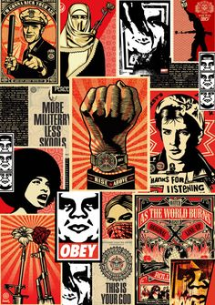 Obey Montage - Shepard Fairey Obey Psychedelic Hippie Peace Art Poster ~ ☮~ღ~*~*✿⊱  レ o √ 乇 !! ~ Shepard Fairey is a street artist who originally became known for his Andre the Giant posters in many cities across the USA.