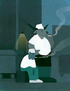 Monsters smoke break by Mark Boardman https://twitter.com/MarkBoardmanArt mark-boardman.com #saturdayscribbles