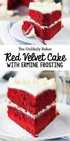 Red velvet cake with ermine frosting. Not your typical red velvet cake…better! #redvelvet #cake  #erminefrosting #baking #dessert  #valentinesday #christmas
