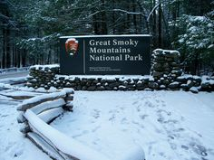 Great Smoky Mountain sign in the snow. #Smoky #Mountains #Hiking #Cades #Cove #National #Park #Smokies #Smokey #vacation