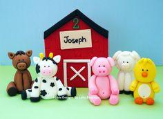 5 Commestibili fondente Farm Animals Cake Topper