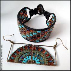 Bracelet wrap et BO Mandala Quarter Beaded Earrings, Beaded Jewelry, Crochet Earrings, Beaded Bracelets, O Beads, Seed Beads, Jewelry Crafts, Jewelry Ideas, Creations