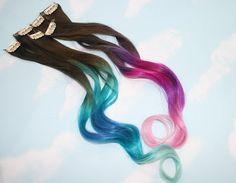 Pastel Tie Dye Tip Extensions, Dark Brown/Black, 20 inches long, Clip In Hair Extensions, Hippie Hair, Dip Dyed Tips. $47.00, via Etsy.