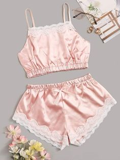Shop Floral Lace Satin Lingerie Set at ROMWE, discover more fashion styles online. Sexy Lingerie, Lingerie Outfits, Pretty Lingerie, Plus Size Lingerie, Cute Sleepwear, Lingerie Sleepwear, Slep Dress, Night Suit For Women, Satin Cami Top