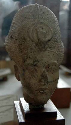 Akhenaten wearing the Khepesh crown decorated with roundels (also known as the Blue crown). Restorations to the lower lip and right eyebrow were made in antiquity. Carved from Limestone and found at Tell el Amarna. Cairo Museum, Egypt.