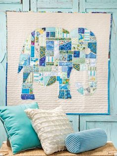 Quilting Ideas Ticker Tape Elephant Wall Hanging- Would be cute with other silhouettes. - Find Jen Eskridge's ticker tape elephant and large scrappy Dresden quilt in the book Scrap Happy Quilting published by Annie's Wholesale. Boy Quilts, Scrappy Quilts, Mini Quilts, Quilting Projects, Quilting Designs, Sewing Projects, Quilting Ideas, Dresden Quilt, Quilt Modernen
