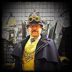 Viscount Eastman Wesley aka Bob Archer sporting a repurposed English Bobbies helmet created by VEW Steampunk Designs!
