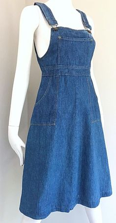 dress Blue jeans - Rare Early The Gap Blue Jean Denim Vintage Overalls Dress Teen Fashion Outfits, Cute Fashion, Denim Fashion, Fashion Dresses, Modest Fashion, Modest Outfits, Skirt Outfits, Casual Outfits, Modest Clothing
