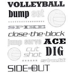 Volleyball Silver Foil Stickers
