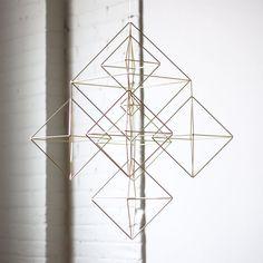 Large Brass Himmeli / Modern Hanging Mobile / Geometric Sculpture