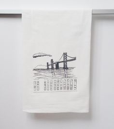 Flour Sack Dish Towel Bay Bridge in grey ink San by theheated