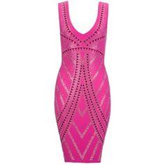 OH SO PRETTY IN HOT PINK dress - Lipsy Hot Fix Bodycon Dress