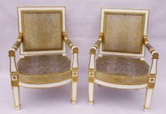 Pair of white lacquered #armchairs #stamped J. Michel. #Empire period, #19thcentury. For sale on #Proantic by  Jean-luc Ferrand.
