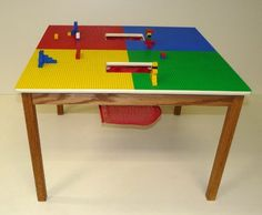 "LEGO COMPATIBLE PLAY TABLE WITH 2 STORAGE POCKETS SOLID OAK WOOD 31.5"" W X 31.5"" L X 21""H - BUILT TO LAST--MADE IN USA!!! by Table Toys made by Flexitoys, http://www.amazon.com/dp/B0015RTHUG/ref=cm_sw_r_pi_dp_rC4mrb0J1WEMG"