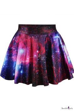 High waist Galaxy Tie Dye Pleated Mini Skirt - Beautifulhalo.com