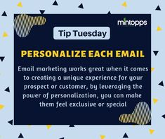 PERSONALIZE EACH EMAIL Email marketing works great when it comes to creating a unique experience for your prospect or customer, by leveraging the power of personalization, you can make them feel exclusive or special Email Marketing, Digital Marketing, Email Email, Recruitment Services, It Works, Web Design, Things To Come, Feelings, Unique