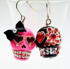 Day of the Dead Sugar Skull Earrings by ibelief