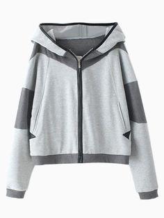 Gray Contrast Color Zipper Hoodie | Choies
