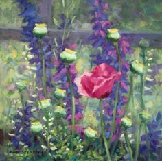 """Romantic Poppy Larkspur Painting Original Oil Painting """"Poppy and Larkspur"""" by KimStenbergFineArt, $250.00"""