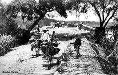 Arriero campesino pasando el puente en Ocotlan Jalisco Mexico