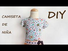 Camiseta de niña con manga, con vídeo tutorial para confeccionarlo fácilmente. Patrones, patterns, moldes y telas.