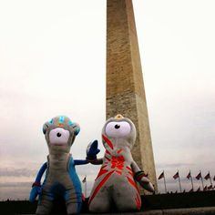 London 2012 Olympic and Paralympic mascots Wenlock and Mandeville visit the Washington Monument in DC.