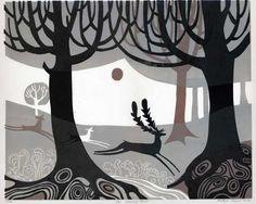Melvyn Evans, lino cut, releif printmaking, deer, stag, forest, illustration