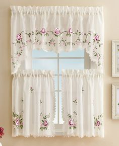 Embroidered Floral Rose Cafe Curtain Set