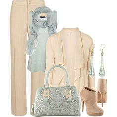 Ice Blue and Cream Aldo Boots and Bag, created by itscindylou on Polyvore