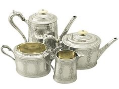 Sterling Silver Four Piece Tea and Coffee Service - Antique Victorian  SKU: W9809 Price  GBP £2,950.00  http://www.acsilver.co.uk/shop/pc/Sterling-Silver-Four-Piece-Tea-and-Coffee-Service-Antique-Victorian-97p6694.htm#.VjnxDCs8rfc